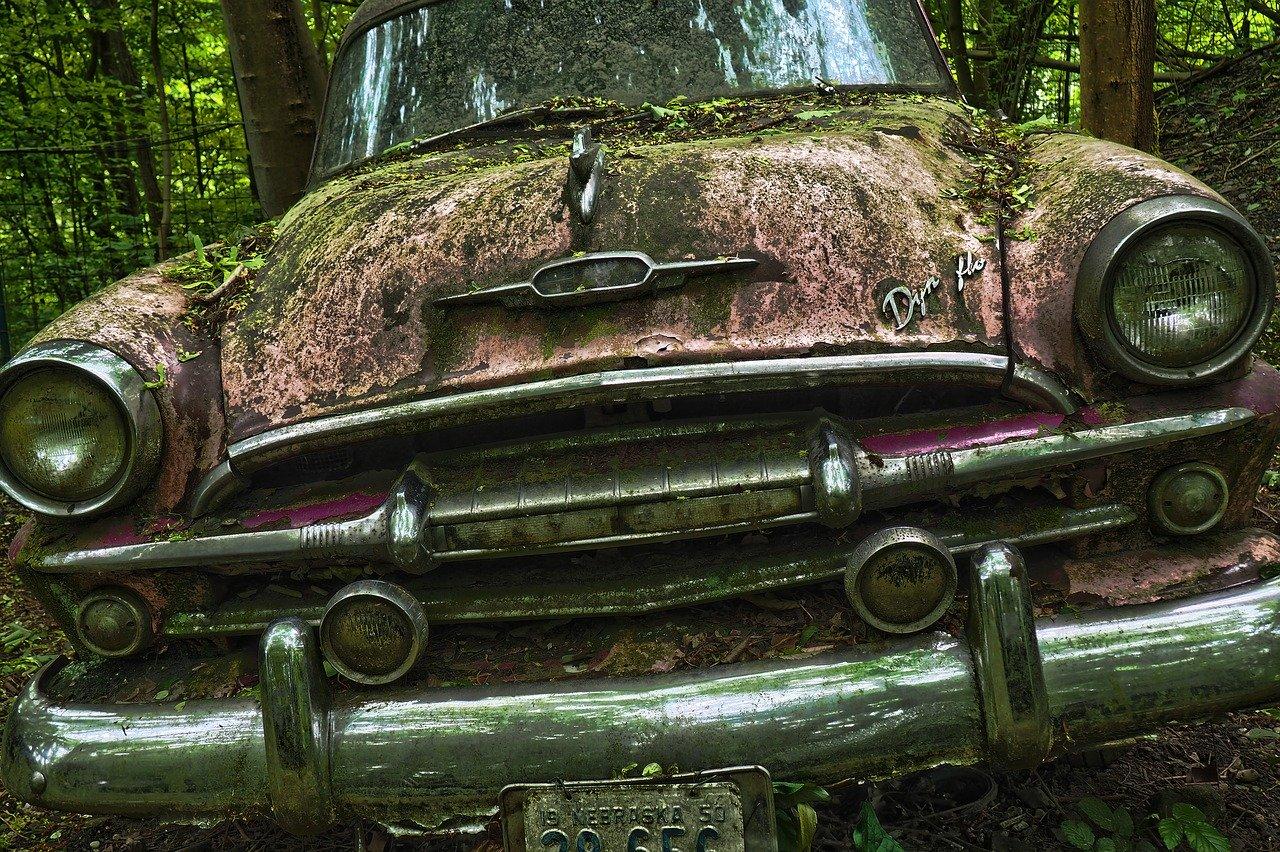 auto, car cemetery, oldtimer