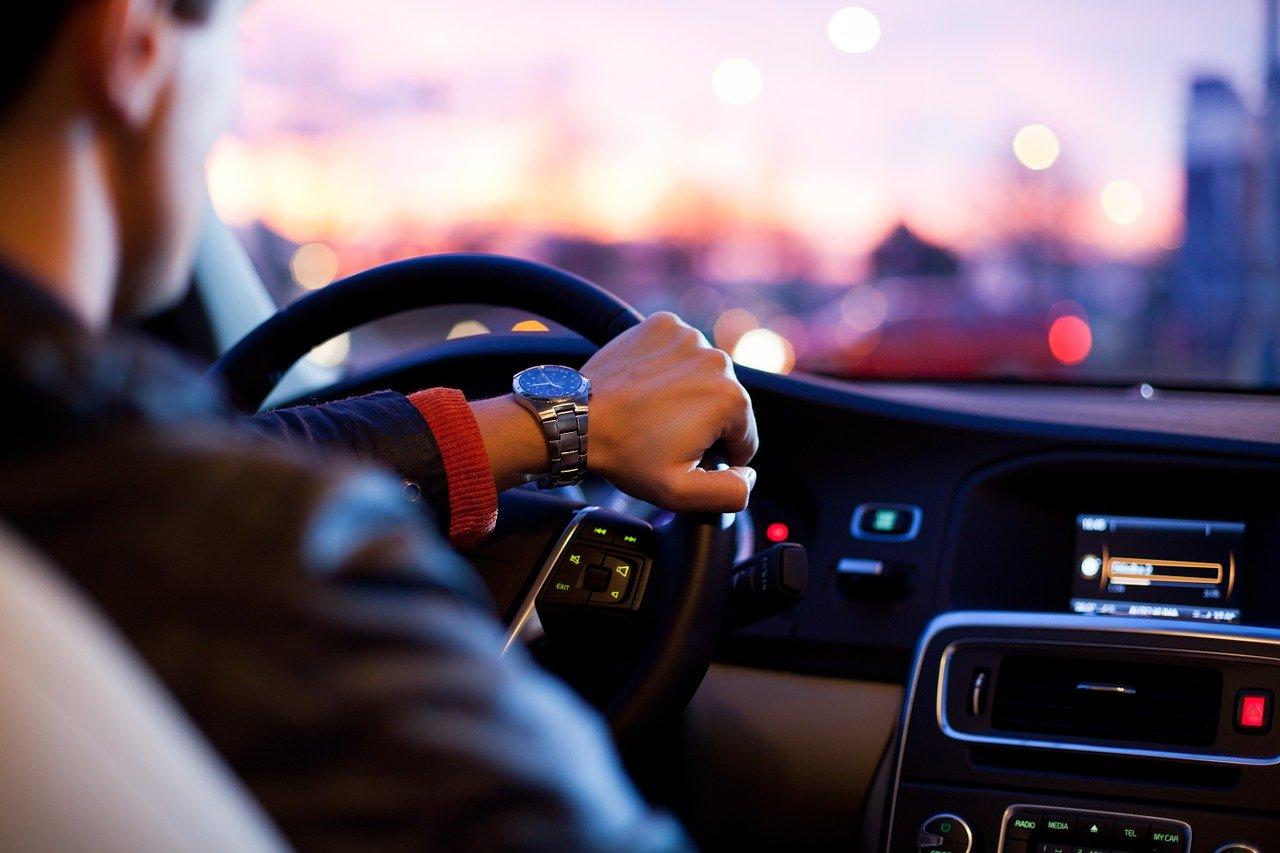 car, traffic, man