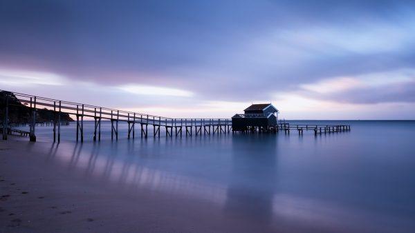 jetty, beach, sunset