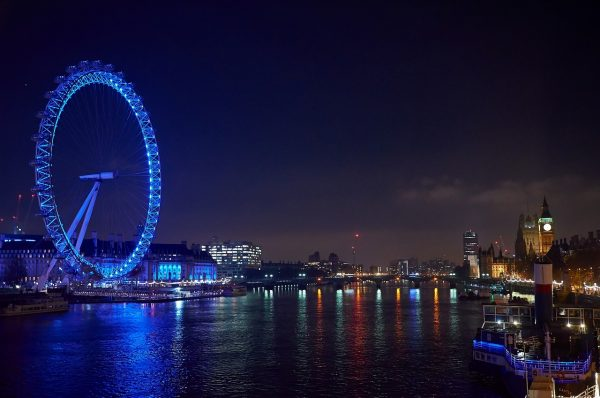 the eye, london, night photograph
