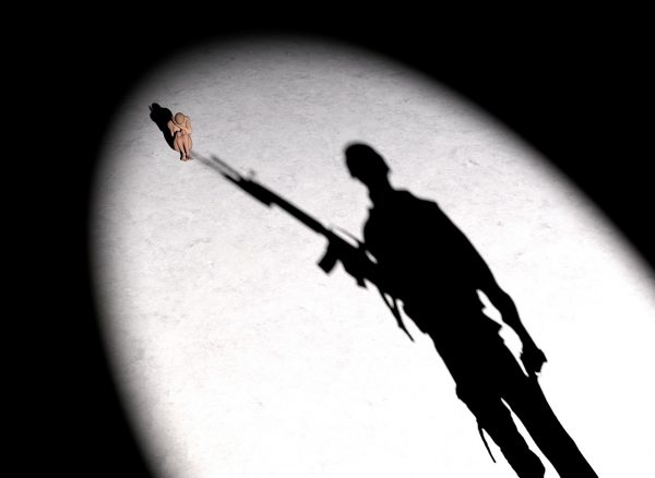 soldier, woman, silhouette