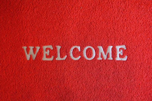 welcome, floor mat, input