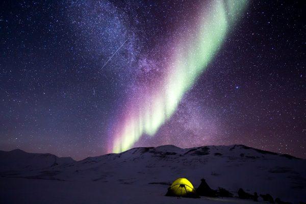 night, aurora, snow