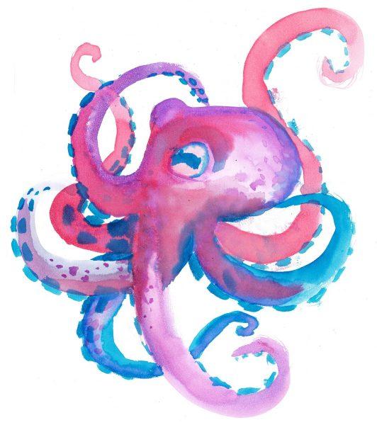 octopus, watercolor, children's
