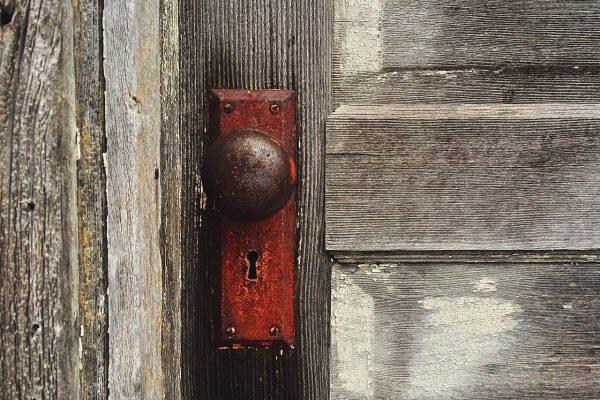 door, knob, vintage